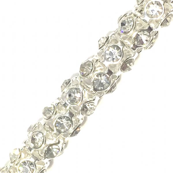 Clear rhinestone silver plated reticulated chain